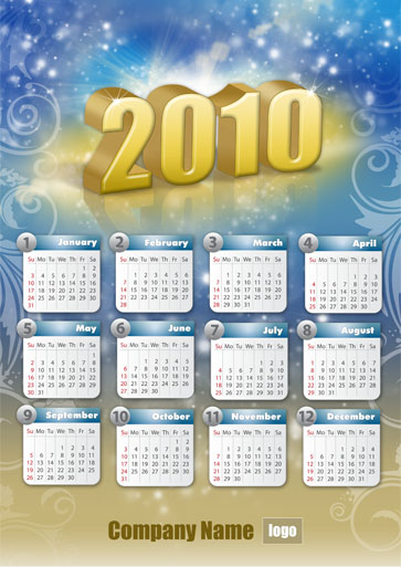 #2: PSD template - Colorful Calendar Grids for 2011
