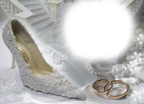 wedding frame with rings and slipper Wedding with rings and slipper psd