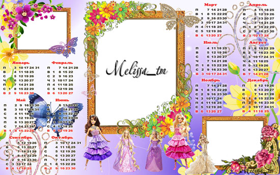 Calendar 2011 – barbie – psd
