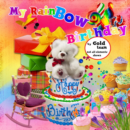 My Rainbow Birthday – Photoshop template. My Rainbow Birthday - Photoshop
